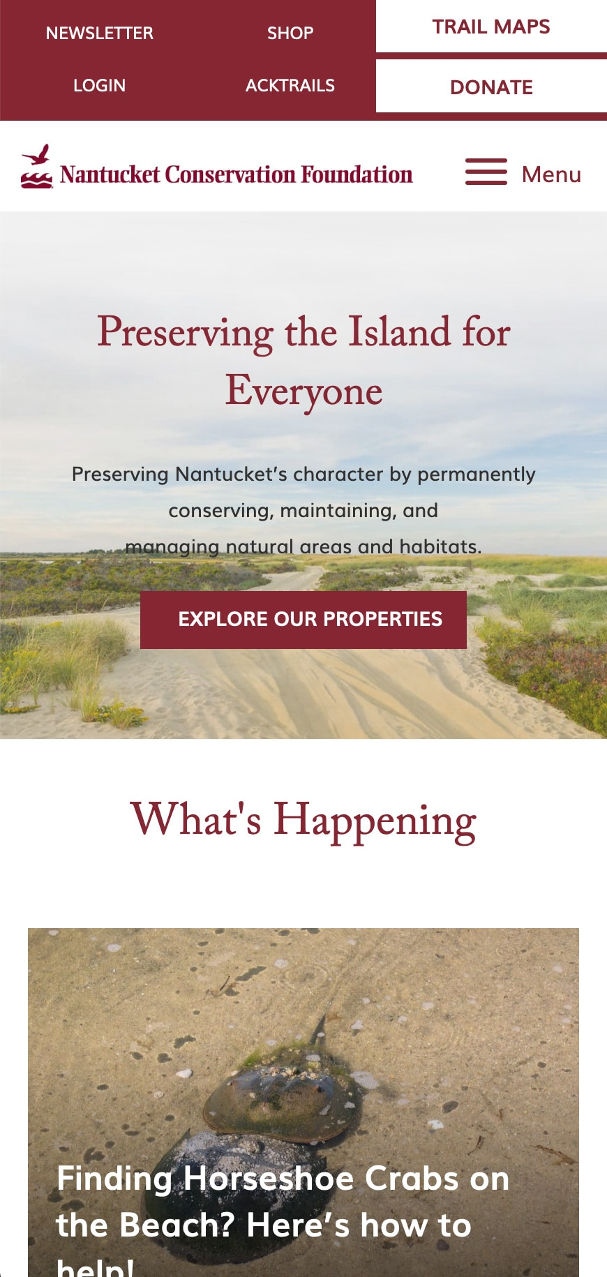 Nantucket Conservation Foundation Homepage Mobile 1