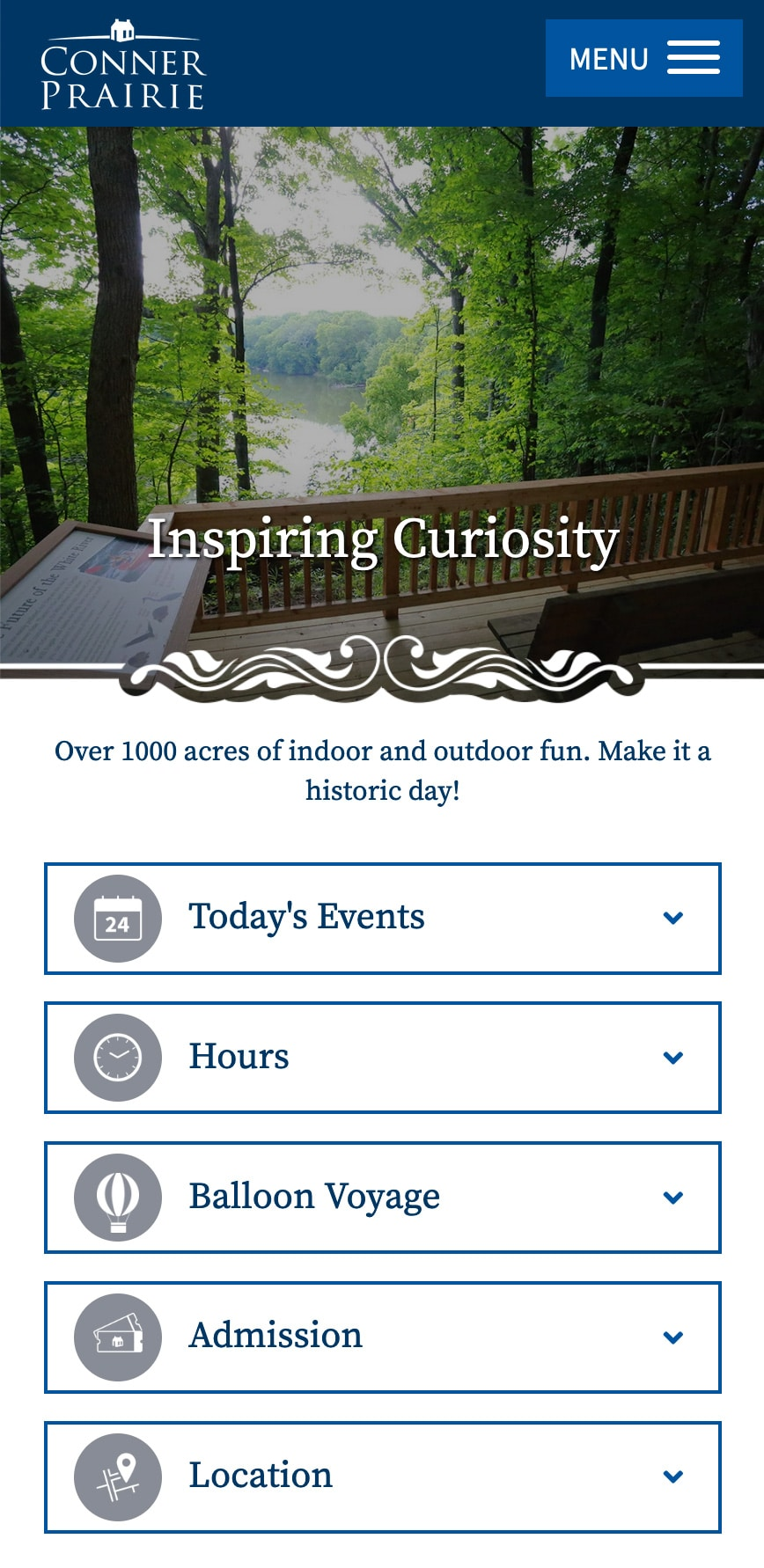 Conner Prairie Museum Homepage Mobile 1