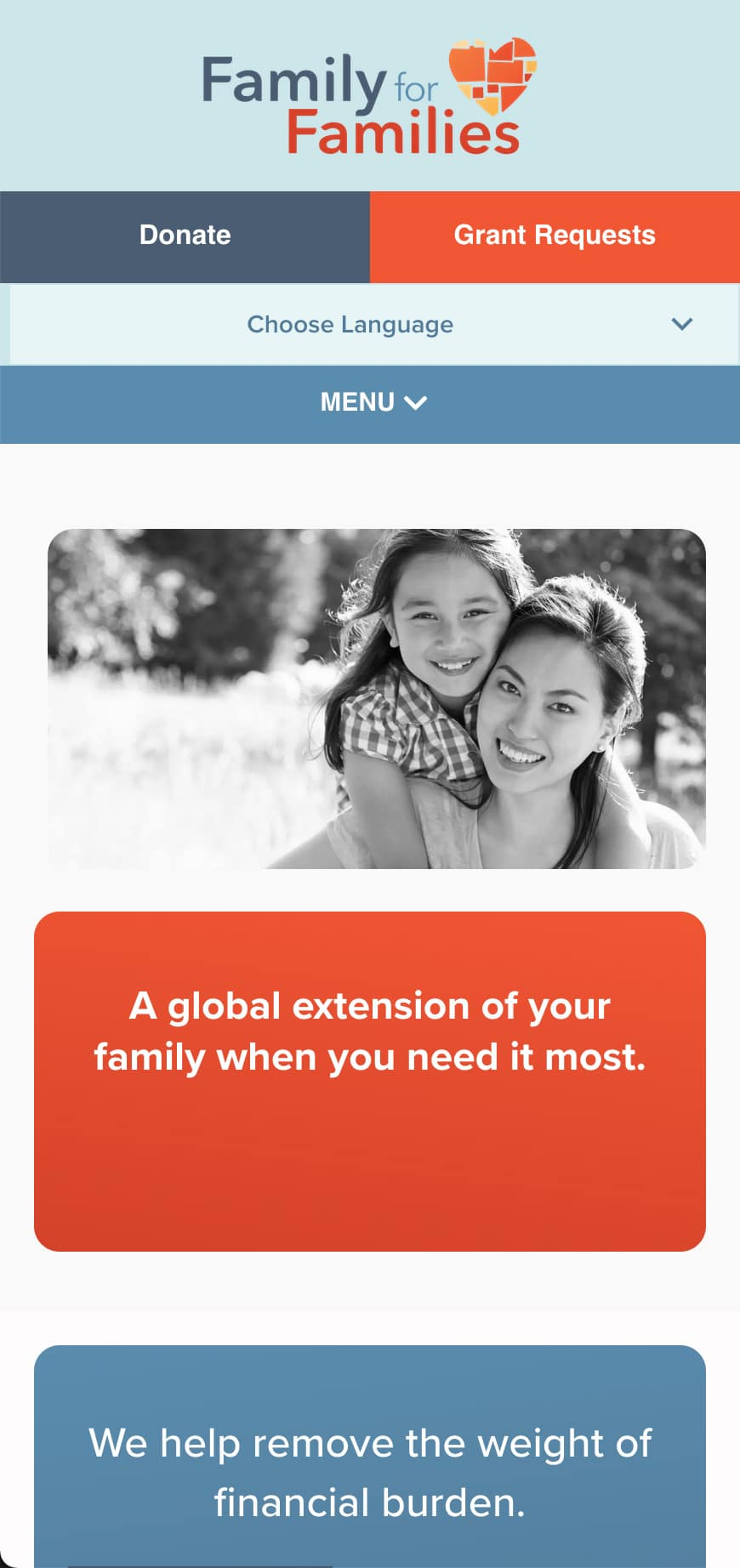 Family For Families Homepage Mobile 1