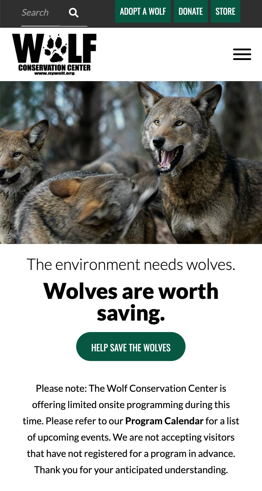 Wolf Conservation Center Homepage Mobile 1