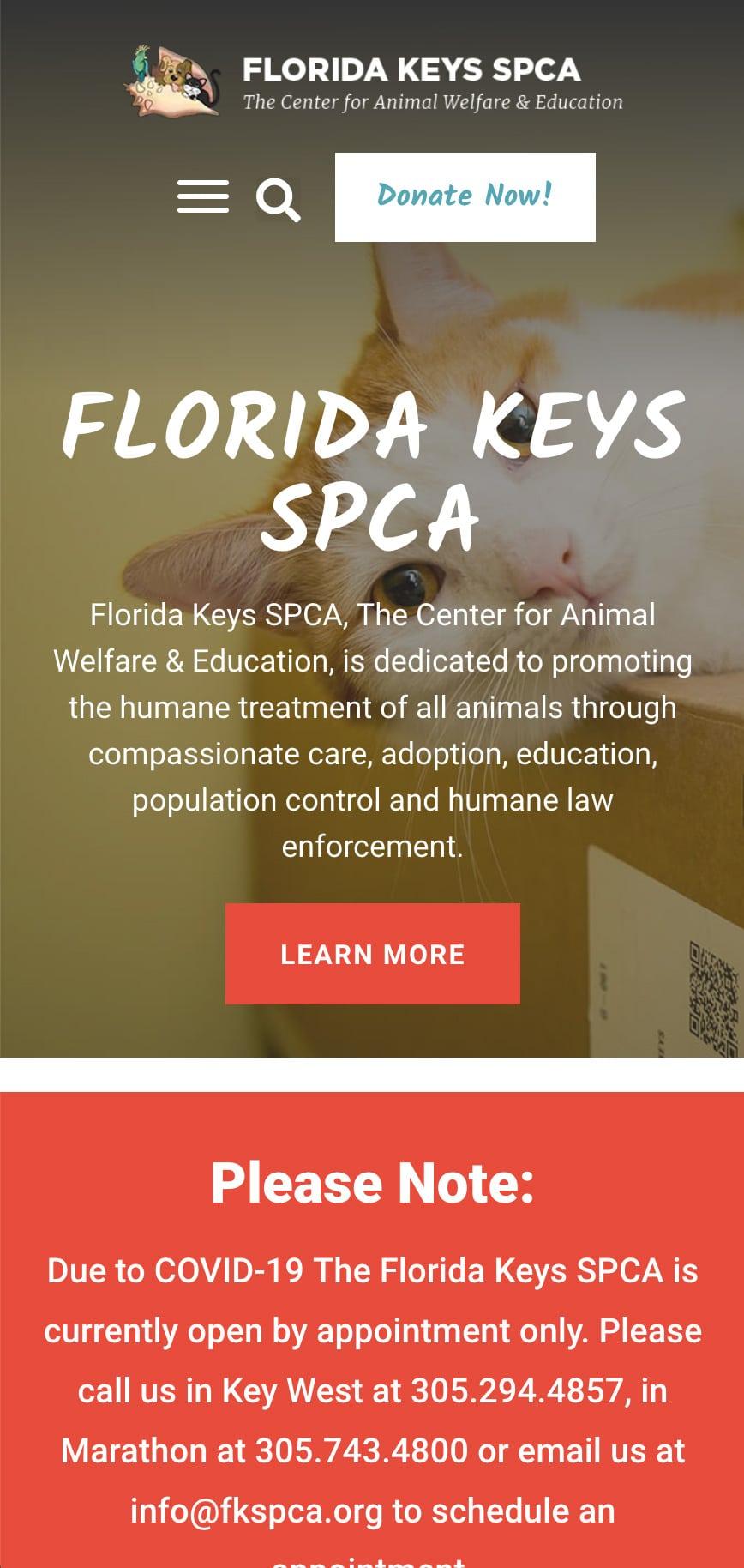 Florida Keys Spca Homepage Mobile 1