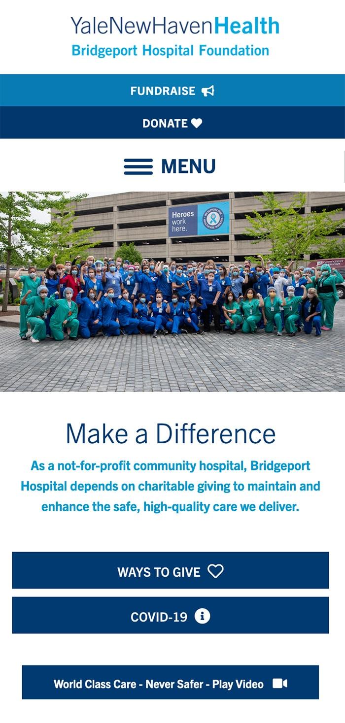Bridgeport Hospital Foundation Homepage Mobile 1