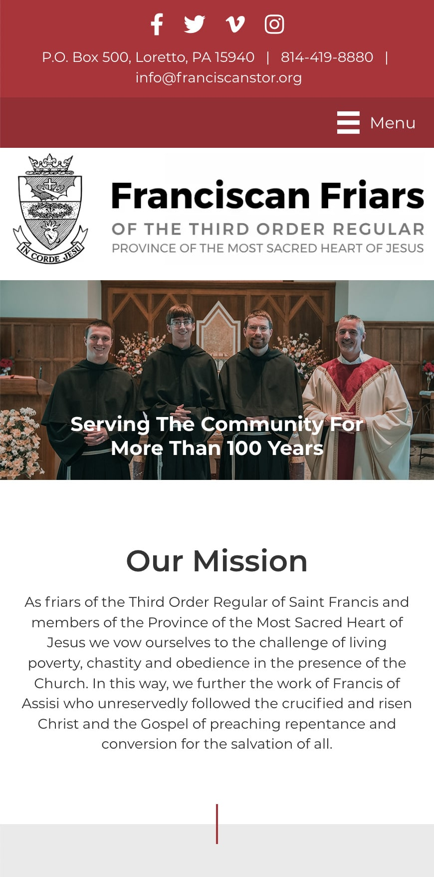 Franciscanfriarsloretto Homepage Mobile 1