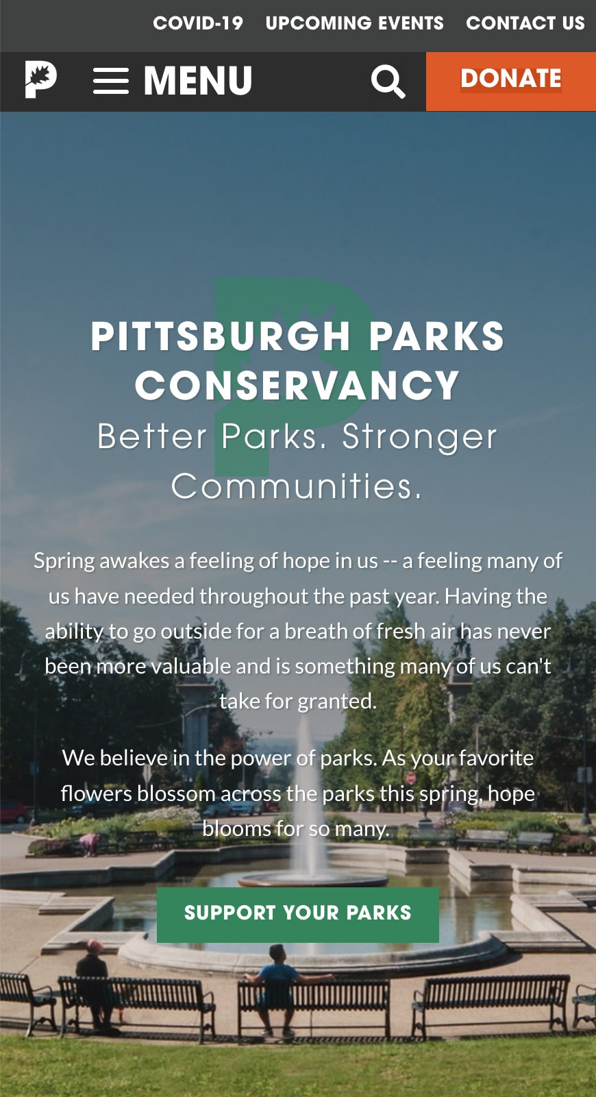 Pittsburgh Parks Conservancy Homepage Mobile 1